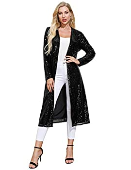 Women Long Sleeve Cardigan Sparkly Open Front Mid Calf Length Cover Up for Evening Club M,Black