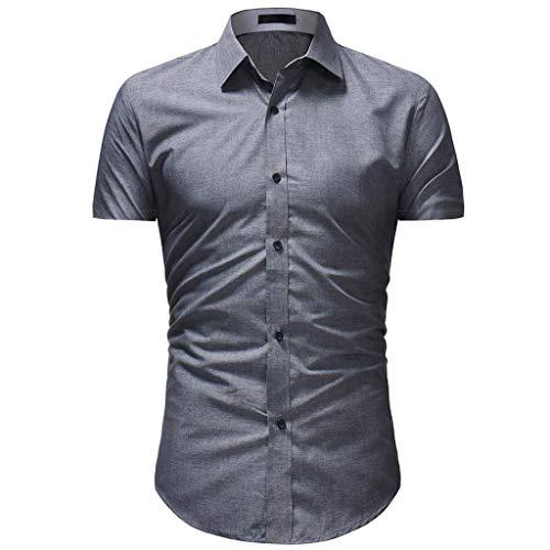 Herren Solide Lässige Kleidung Kurzarm Hawaiian Shirt Top Bluse