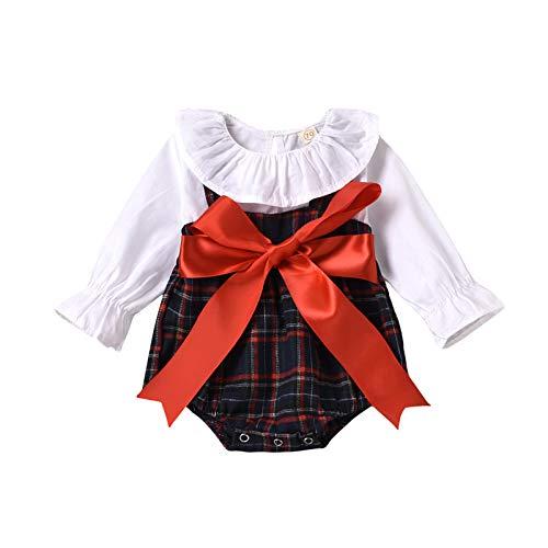 Vestido Bebé Niña Manga Larga Cuadros Lazo Vestidos para Niñas Princesa Ropa...