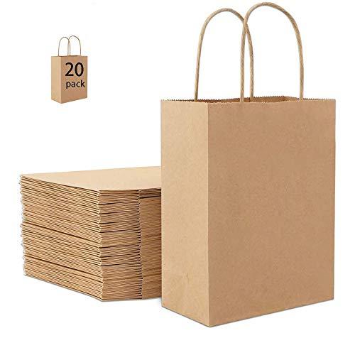 Papiertüten Braun Henkel,Braune Kraftpapiertüte,Braun Geschenktüten,Tüten aus Braun Kraft,Papiertragetaschen,Geschenktüte mit Griff,Geburtstagsfeier,Weihnachts, Geschenk(21 * 8 * 16)