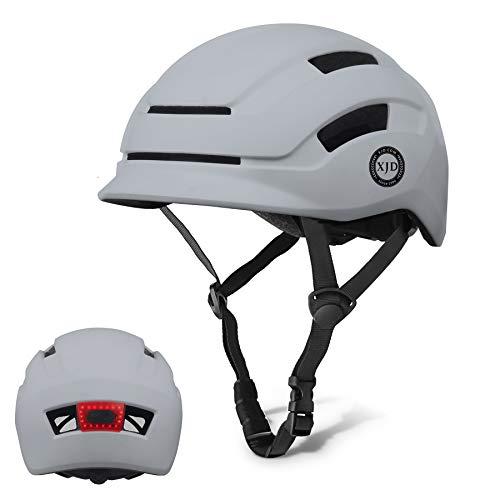 XJD Casco de Bicicleta para Adultos Protección de Bici Ciclismo USB Recargable Luz Urban Commuter Ligero Casco de Multideporte con Certificado CE Tamaño Ajustable para Hombres y Mujeres (Gris, L)