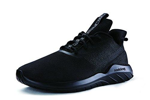 Zapatillas deportivas unisex de punto y malla con cordones para ocio de la calle, color Negro, talla 36 EU