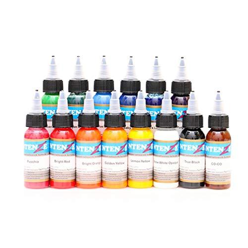 Dr.Howellan Tattoo Tinte Schwarz, Tattoo Tinte 14 Farben Blading Pigment Set 1 Unze 30 Ml/Flasche Tattoo Tinten Pigment Kit Tattoofarbe, Für Tattoo Body Paint Tattoo Farbe