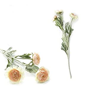 Liusujuan Beautiful Artificial England Ranunculus Asiaticus Rose Flowers Silk Flores for Home Table Decoration 3 Heads Fake Flower