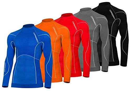 Compression T-Shirt de Base Layer à Manches Longues Homme (Blue, XXL)