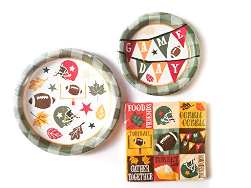 Football Turkey Day - Fall Thanksgiving Friendsgiving Bundle - Paper Plates and Napkins for 8 Guests