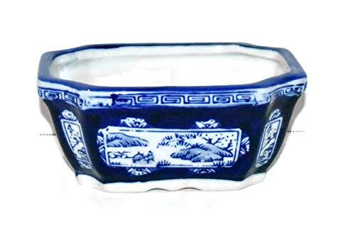 New 6.5' Cobalt Blue & White Oriental Landscape Rectangle Bonsai Planter Pot