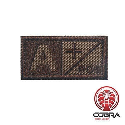Cobra Tactical Solutions Tipo Sangre A+ POS Parche Bordado Táctico Moral Militar con Cinta adherente de Airsoft Cosplay para Ropa de Mochila Táctica