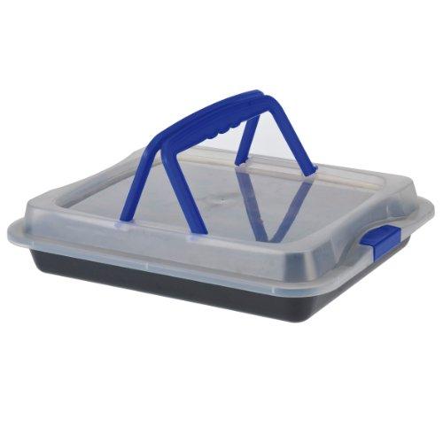 Back- und Auflaufform mit Kunstoffhaube und Tragegriffen - Backblech mit Antihaftbeschichtung - für den sicheren Transport - Größe: ca. 36 x 23x 4,5cm