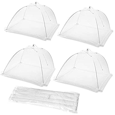 Ilyever 4 Pack Food Cover Tent with Extra Bottom Band,Large Collapsible Pop-Up 17  Mesh Cover Protect Your Food and Fruit From Flies and Bugs at Picnics Pefect for Home Outdoor Picnic