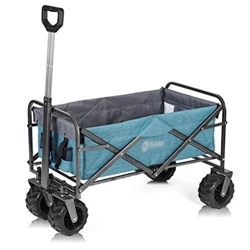HDGZ Chariot de Transport avec Toit Chariot Pliant Chariot de Plage Chariot de Jardin Pliable pour Tous Les terrains(A)