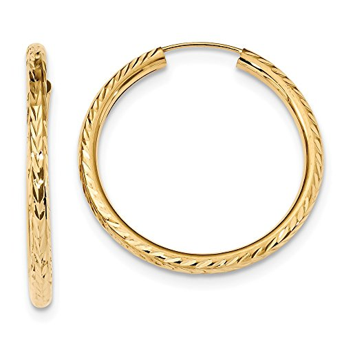 Sólido 14K oro amarillo 34mm corte de diamante redondo Endless mujer pendientes de aro