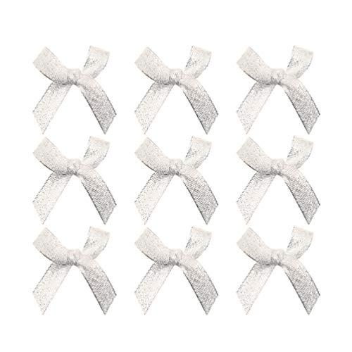 EXCEART 100 Pezzi di Nastro in Raso Mini Fiocchi Applique Decorazione Abbellimento per Argento Fai da Te Scrapbooking