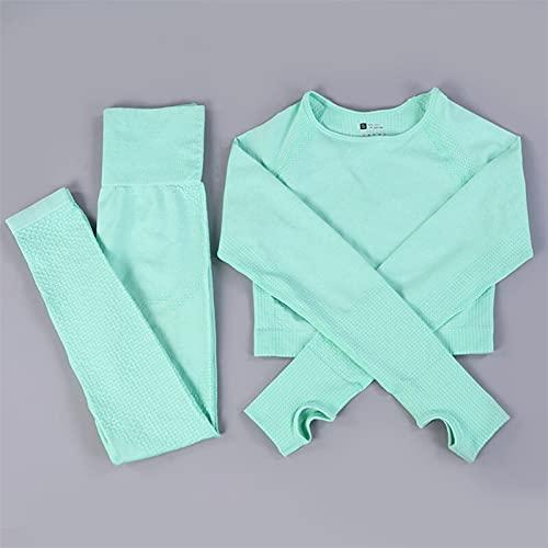 Pantalones de yoga Vital para mujer, traje de yoga, gimnasio, entrenamiento, ropa de manga larga, cultivos de fitness + leggings sin costuras de alta cintura (color: verde claro, talla M: