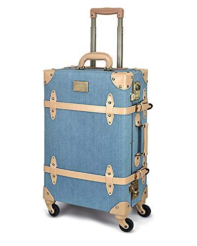 HANAsim トランク NN(S~LLサイズ) キャリーケース かわいい 人気 TSAロック 4輪 スーツケース お洒落な旅行カバン インテリア レトロ アンティーク (L, 4/デニム(Denim))