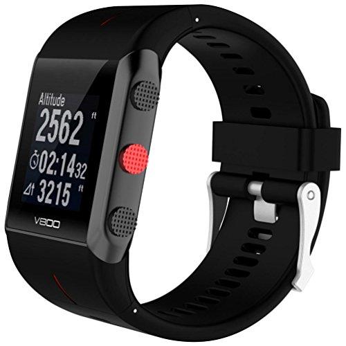 SHOBDW Ersatz Silikon Gummi Uhrenarmband Handschlaufe für Polar V800 Uhr (Schwarz, 160-220MM)