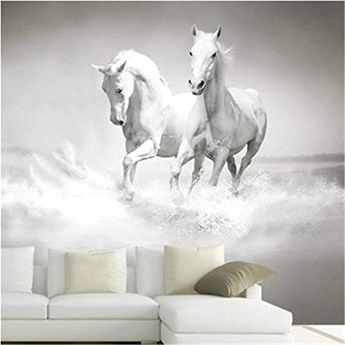 3D Horse White Horse Mural Grande Continental Pared Posterior Sofá Dormitorio Tv Telón De Fondo Mural-350 * 245Cm