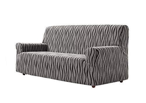 Zebra Textil Andros Funda de sofá elástica, Tela, Gris, 3 Plazas