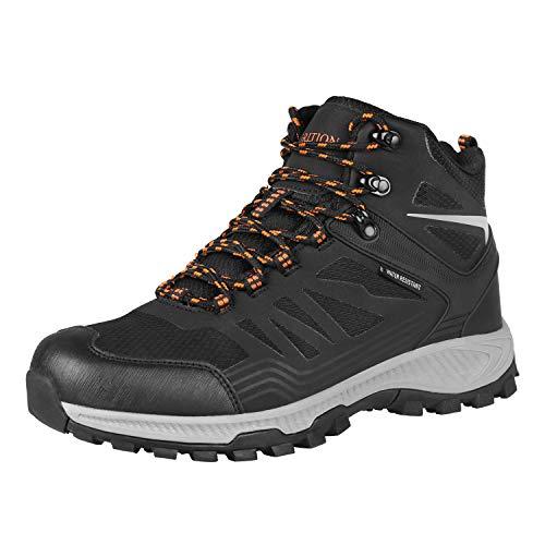 GRITION Chaussures de Randonnée imperméables Chaussures de Trail Homme d'hiver de Marche de Trekking légères et Respirantes Confortables Noir 46 EU