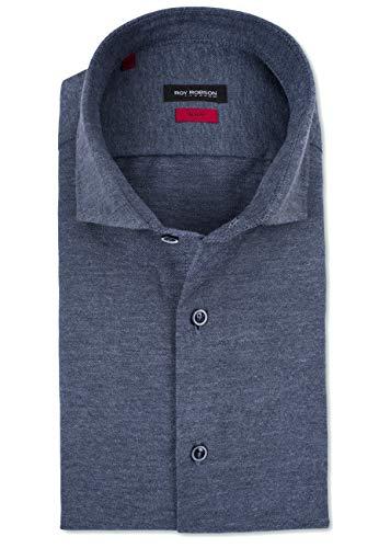 Roy Robson Herren Flanell Hemd aus Baumwolle Langarm - Slim Fit, (Blau) S