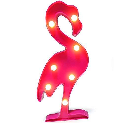 QiaoFei Fenicottero LED Decorativo, Lampade da Comodino Carine per Camera dei Bambini, Camera da Letto, Regali, Feste di Natale, Giardino, Decorazioni per La Casa (Rosa)