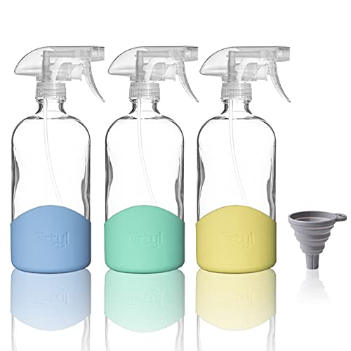 Tirtyl 16oz Spray Bottle Dispensers with Silicone Sleeve - Includes Funnel - Extra Durable Spray Trigger - Refillable for Home & Garden - 3 Pack