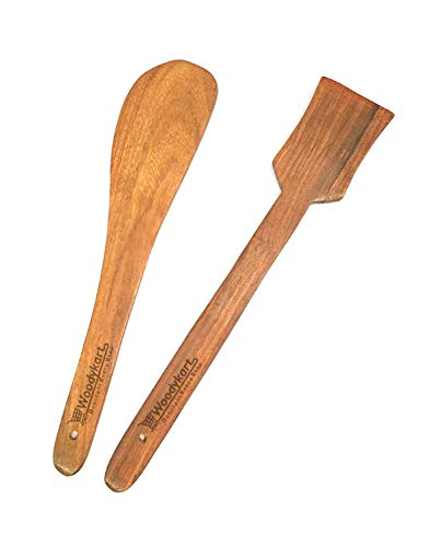 Woodykart Rosewood Cooking Spoons Set of 2 - Flip (Palta for Dosa/Roti | Handmade | Ideal for Non Stick)
