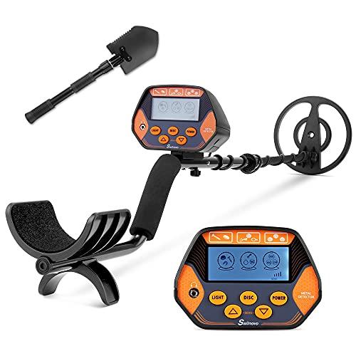 Metal Detector con modalità disco e tutti i metalli per principianti, adulti e bambini, facile da usare e ad alta precisione, con pala multifunzionale, bobina impermeabile da 8,6