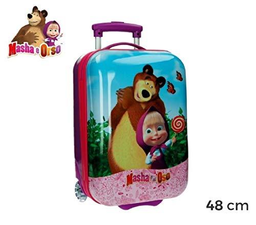 4731151 Trolley bagaglio da cabina in ABS rigido Masha e Orso 48x30x18 cm. MEDIA WAVE store