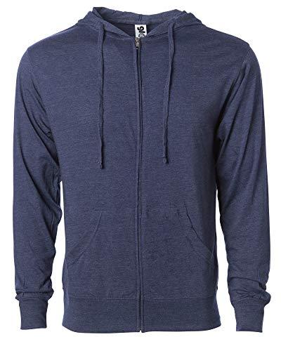 Global Men's Lightweight T-Shirt Jersey Full Zip Up Hoodie Sweatshirt XXL Navy Heather