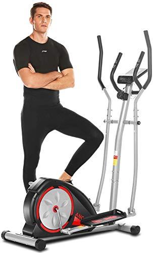 Profun Bicicleta Elíptica para Casa Eliptica Fitness Trainer 8 Niveles de Resistencia Volante Inercia 5kg, Pantalla LCD y Soporte Tablet Pedales Antideslizantes
