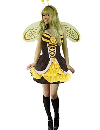 Yummy Bee - Bienenkönigin Hummelbienen + Strümpfe Flügel Karneval Fasching Kostüm Damen Größe 34-48 (38/40)