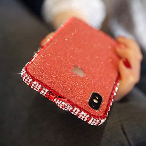 TIANLE 苹果11pro手机壳iPhone7/8 plus镶钻边框xs max水钻金属保护套xr-Red-5.8'||iPhone11pro