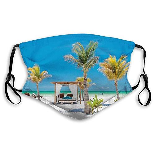 Face Scarf Tropische Strandbetten Unter Palmen Paradies Küste Urlaub Sommer Ozean Sonnenbaden Bild Bunt Radfahren Mund...