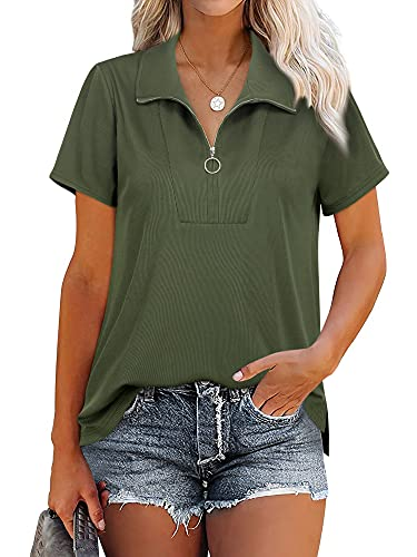 MCKOL Womens Zipper Tops and Blouses Business Casual Clothes Short Sleeve Ribbed Dressy Summer Zip Up Half Shirt Solid Color Collared Blouse Army Green, L