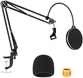Neewer NW-35 Microphone Stand with Microphone Windscreen Foam and Dual-Layered Mic Pop Filter - Suspension Boom Scissor Ar...
