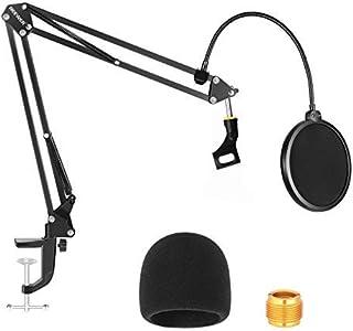 Neewer NW-35 mikrofonstativ med mikrofon vindruta skum och dubbelskiktat mic popfilter – upphängning boom sax armstativ ki...