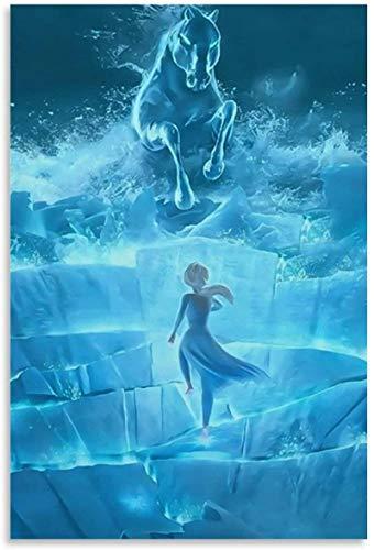 DCPPCPD Pintura De La Lona 60 * 90cm Sin Marco Cuadro Decorativo del Dormitorio del Cartel de la Sala de Estar del Cartel del Caballo del Agua de Frozen 2