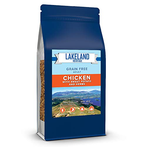 Lakeland Heritage Premium High-Protein Complete Dry Dog Food - 50% Chicken, Natural, Grain-Free, Hypoallergenic Kibble - For Adult Dogs / All Breed Sizes - 2kg Bag