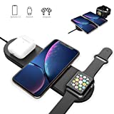 Blueendless 3 in 1 Qi Wireless Charging Pad Fast Charger Compatible with iPhone 11 11pro 11pro…