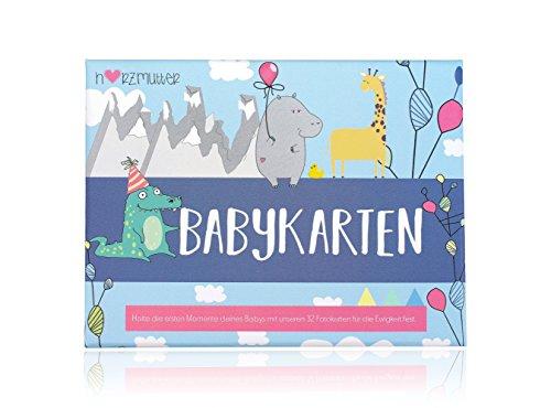 Herzmutter Babykarten-Meilenstein-Karten - nach der Schwangerschaft – zur Geburt - Erinnerungskarte für die schönsten Babymomente - 33 Karten in hochwertigem Karton - 9200