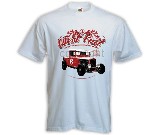 Hot Rod T-Shirt West End weiß US Car Rockabilly Tattoo Pinup Zündkerze Gr. XXL