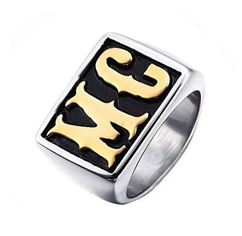 PAURO Mens Vintage Stainless Steel Gothic Biker Big MC Rings Size 7-17 Silver Gold Size 8
