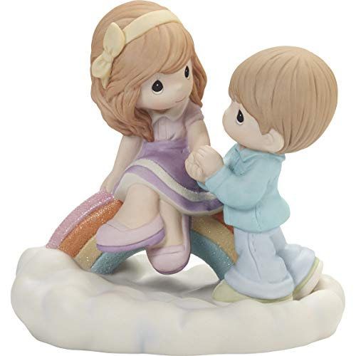 Precious Moments 202004 You're My Rainbow Among The Clouds Couple Bisque Porcelain Figurine, One Size, Multicolored