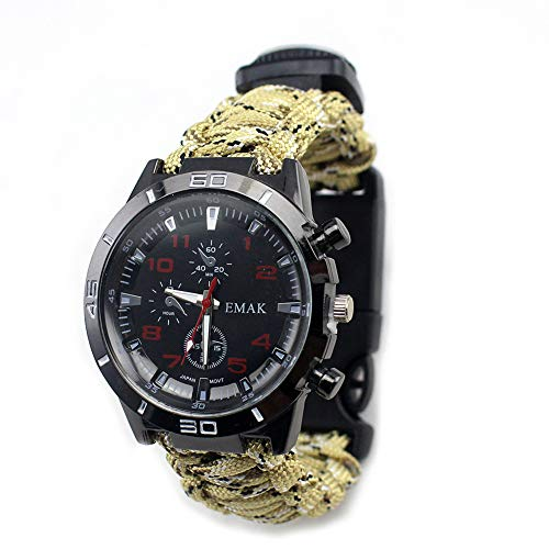 Outdoor umbrella rope watch, multifunctional survival tool, waterproof life, with compass, thermometer, whistle, etc., suitable for mountaineering, camping, hiking, and wilderness survival, etc.