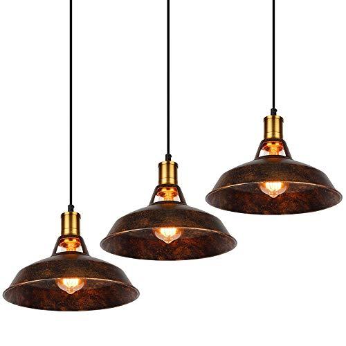 SCELINA Lámpara colgante de estilo vintage industrial Loft para restaurante/café/bar/hogar Especial creativa lámpara colgante de cadena (3 unidades)