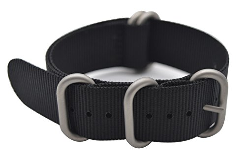 ArtStyle Watch Band with Colorful Nylon Material Strap and Heavy Duty Brushed Buckle (Black, 22mm)