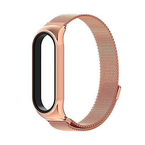 LXF JIAJU para MI Band 5 4 3 Strap Metal CS Pulsera para Xiao MI Watch Watch NFC Global Version (Color : Rose Gold, Size : For Mi Band5 4 3)