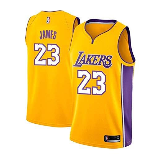 AKCHIUY Herren-Basketballtrikot, Lebron James # 23 NBA Los Angeles Lakers, Neues Atmungsaktives ärmelloses Swingman-Trikot,Yellow(B)-L