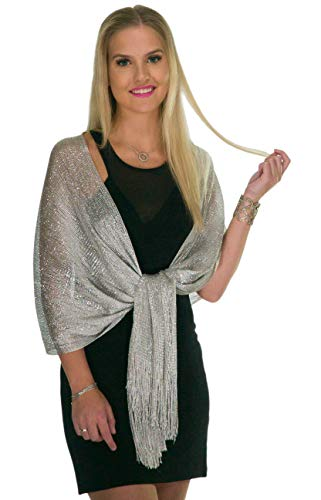 Shawls and Wraps for Evening Dresses, Metallic Glitter Shawls for Women, Sparkling Wedding Metallic Silver Shawl Gift by ShineGlitz